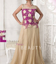 Buy Cream and Pink embroidered net semi stitched salwar with dupatta party-wear-gown online