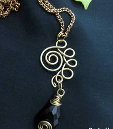 Buy Brass_Black_Drop_Coiled_Chain Necklace online