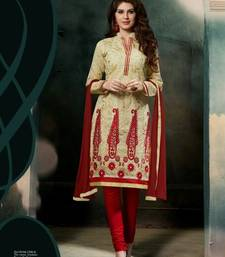 Buy Beige and Red  embroidered Chanderi unstitched salwar with dupatta dress-material online