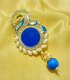 Buy Designer Blue CZ Saree Pin Brooch brooch online