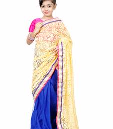 Buy beige woven net saree with blouse kids-saree online