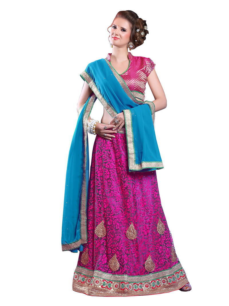 Buy Pink Plain Net Unstitched Lehenga Choli Online
