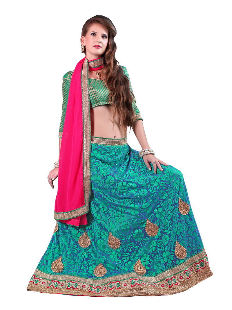 Buy Green Plain Net Unstitched Lehenga Choli Online