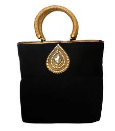 Buy Jute Raw Silk Combo Tilak Brooch handbag (Black) handbag online