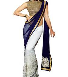 Buy Royal blue and off white embroidered georgette saree with blouse party-wear-saree online