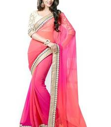 Buy Pink and orange plain chiffon saree with blouse georgette-saree online