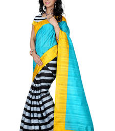 Buy use coupen BEC65131 and 10% get descount blue and black printed art_silk saree with blouse bhagalpuri-silk-saree online