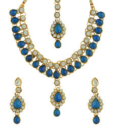 Buy Blue Kundan And American Diamond Studded Necklace necklace-set online