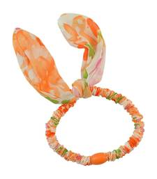 Buy Floral Print Orange Fabric Hair Rubber Band for Women Other online