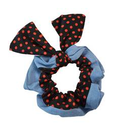 Buy Polka Dot Black Fabric Hair Rubber Band for Women Other online