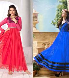 Buy Red and Blue embroidred Net and brasso semi stitched salwar with dupatta anarkali-salwar-kameez online