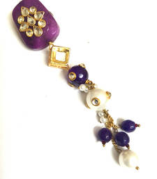 Buy purple kundan work saree pin brooch online