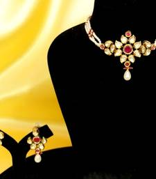 Buy Ruby and Pearl Elegant Choker Necklace Set necklace-set online