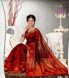 Buy Maroon woven dupion silk saree with blouse dupion-saree online