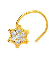 Buy Gold Plated Gleaming Estoile Nosepin with CZ for Women nose-ring online