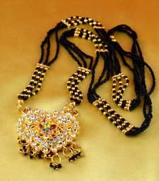 """Buy mangalshutra gold platted stone meenakari cz ad moti pearl polki kundun size 24""""inch mangalsutra online"""