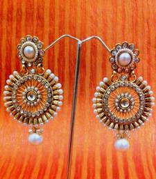Buy White pearl polki chakra design earring ha88 gifts-for-her online