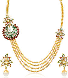 Buy Intricately Four Strings Gold Plated Necklace Set necklace-set online