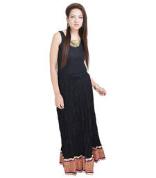 Buy Sunshine Designer Black Full Length Skirt with Designer Border cotton-lehenga online