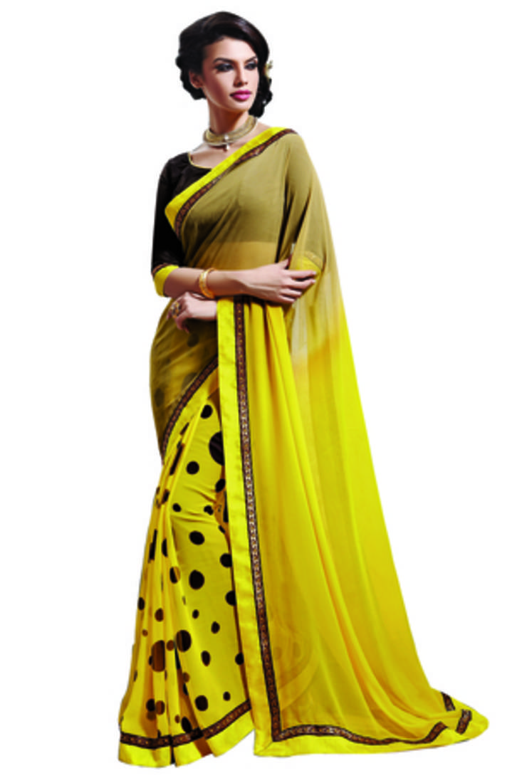 Buy Yellow And Brown And Yellow And Chikoo Printed Chiffon Saree With Blouse Online