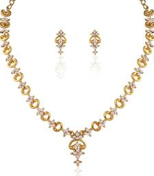 Buy Incredible  Gold plated Australian Diamond Stone  Necklace Set necklace-set online