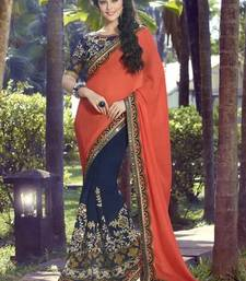 Buy Orange  and  Navy Blue embroidered georgette saree with blouse heavy-work-saree online