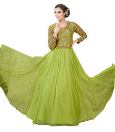 Buy parrot green embroidered Net semi stitched party-wear-gowns party-wear-gown online