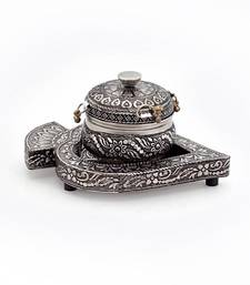 Buy Real Oxidized White Metal Pan Box with Tray religious-item online