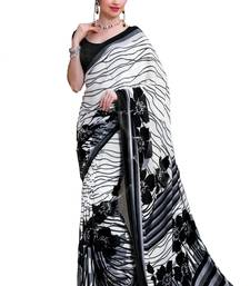 Buy Black and White printed crepe saree with blouse crepe-saree online