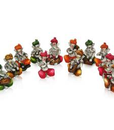 Buy Set of 12 Instrumental Colorful Ganesha's sculpture online