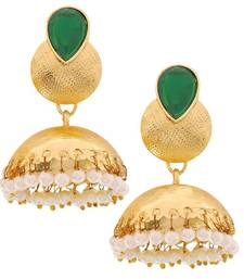 Buy Indian Fashion Jewelry Gorgeous Ethnic Jhumki Earrings Green White jhumka online