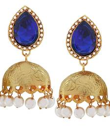 Buy Ethnic Jewelry Grand Crystal Jhumki Earrings Blue Goldd jhumka online