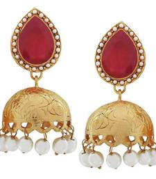 Buy Bollywood Indian Jewels Suave Crystal Jhumki Earrings Maroon White jhumka online