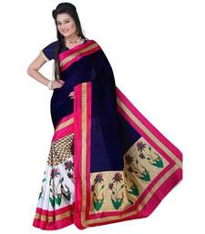 Buy Blue printed art_silk saree with blouse bhagalpuri-silk-saree online