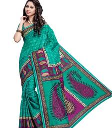 Buy Turquoise printed cotton saree with out blouse cotton-saree online