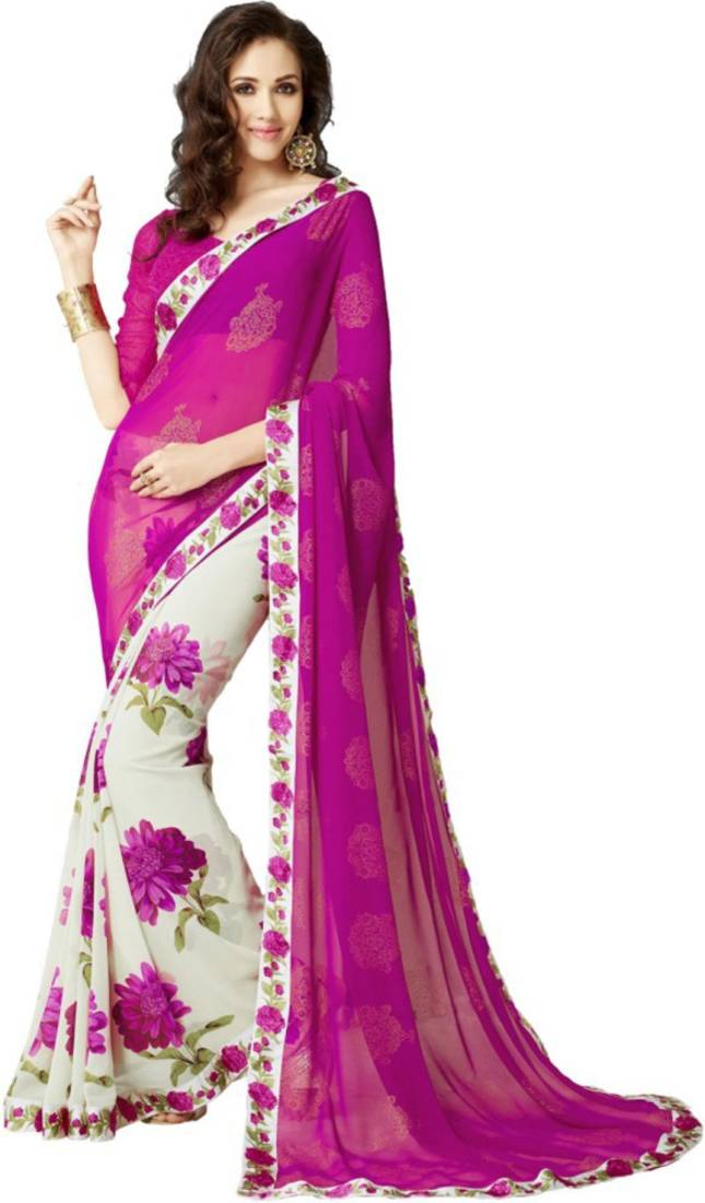 Buy Pink Printed Georgette Saree With Blouse Online