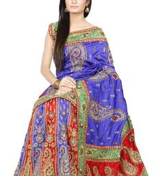 Buy Multicolor embroidered silk Lehenga saree with blouse lehenga-saree online