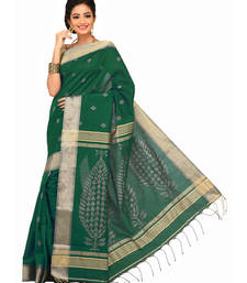 Buy Dark Green Embroidered Cotton saree with blouse cotton-saree online