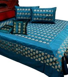 Buy Floral Desigand Brocade Silk Double BedCover Set bed-sheet online