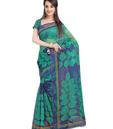 Buy Green Printed Supernet Saree With Blouse supernet-saree online