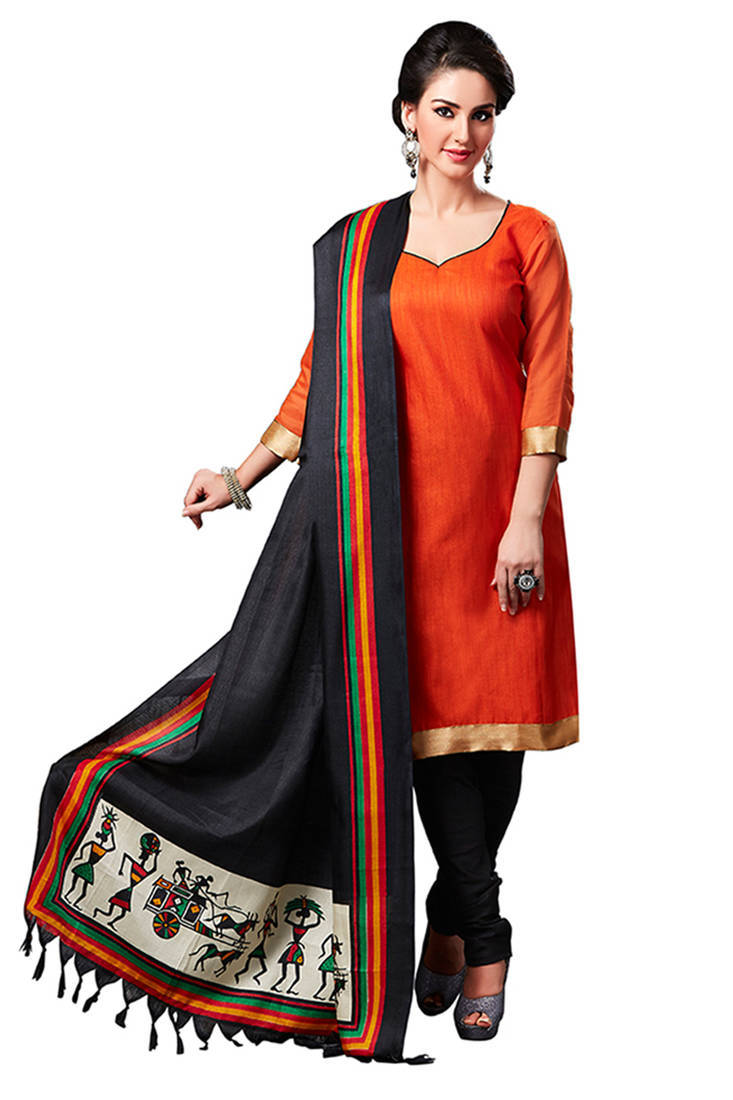 Buy Orange Plain Jute Silk Unstitched Churidar Dress