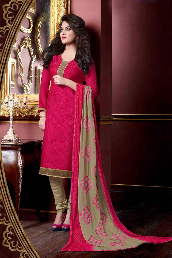 Buy Pink Plain Jute Silk Unstitched Churidar Dress
