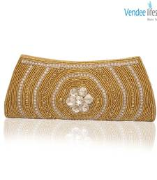 Buy Vendee Lifestyle Golden Beads Clutch for Evening Wear (7328) clutch online