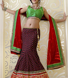 Buy Red embroidered Artsilk  lehenga-choli lehenga-choli online