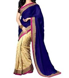 Buy blue embroidered georgette saree with blouse velvet-saree online