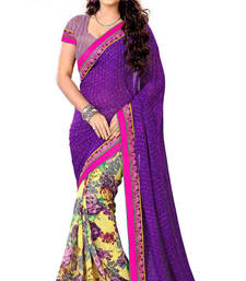Buy Purple  and  Yellow printed georgette saree with blouse georgette-saree online
