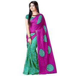 Buy Green  and  Pink printed art-silk saree with blouse bandhani-sarees-bandhej online