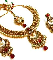 Buy Kundan pearl polki Bridal necklace set with maang tikka necklace-set online