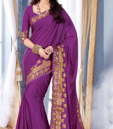 Buy purple Plain Silk saree with blouse wedding-saree online