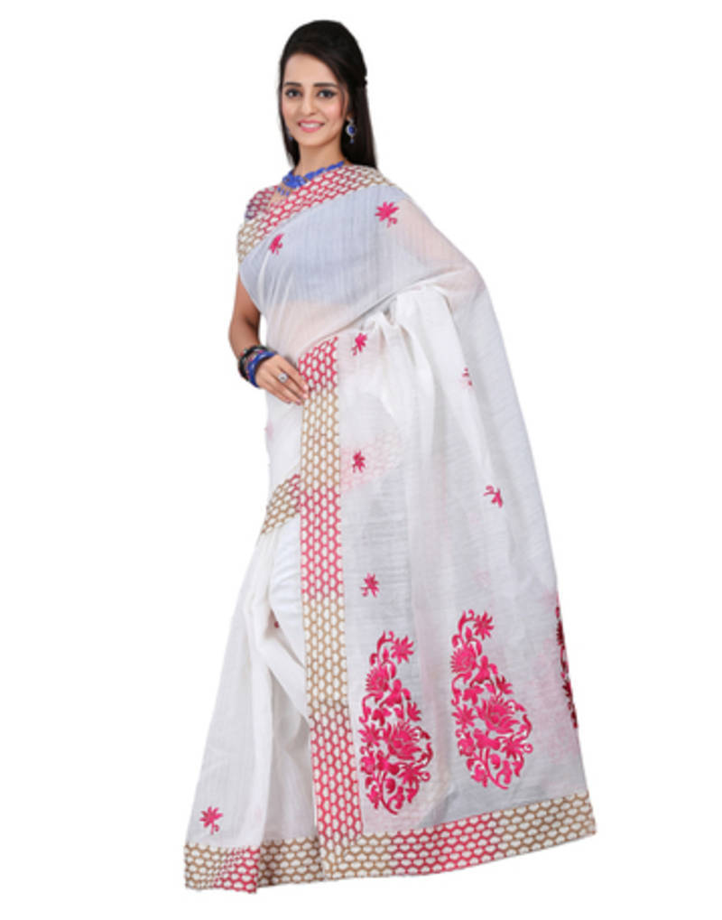 Buy White Embroidered Cotton Saree With Blouse Online